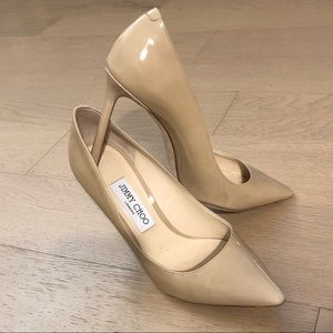 Jimmy Choo Romy 100 Nude Patent Pumps size 8.5